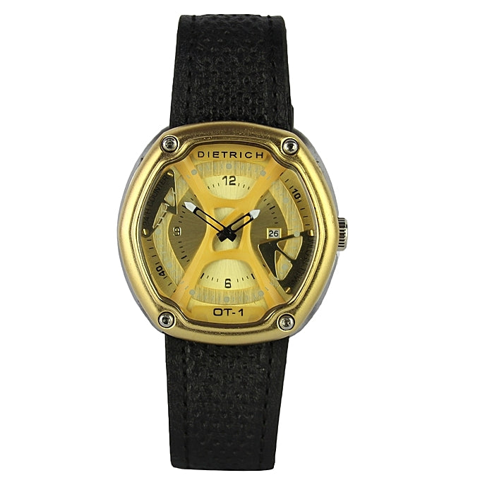 Dietrich Leather Analog Wrist Watch - Black/Gold