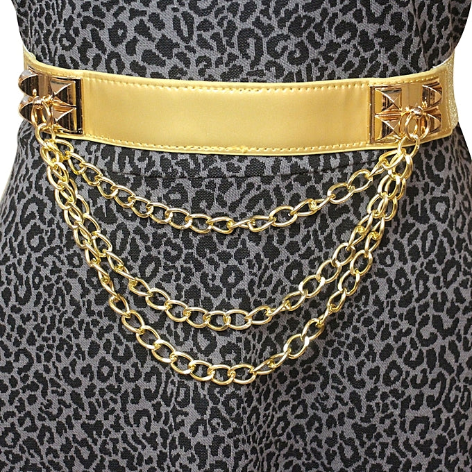Chain Detail Patent Leather Waist Belt - Gold