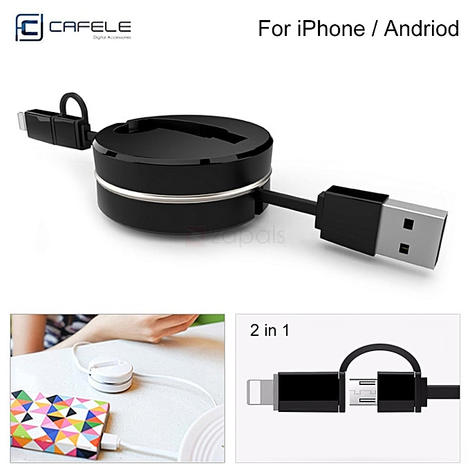CAFELE 2-in-1 Retractable Micro USB Cable for iOS & Android plus free earbud case - Black
