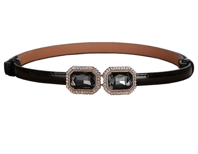 Candy Colored Leather Belt-Black