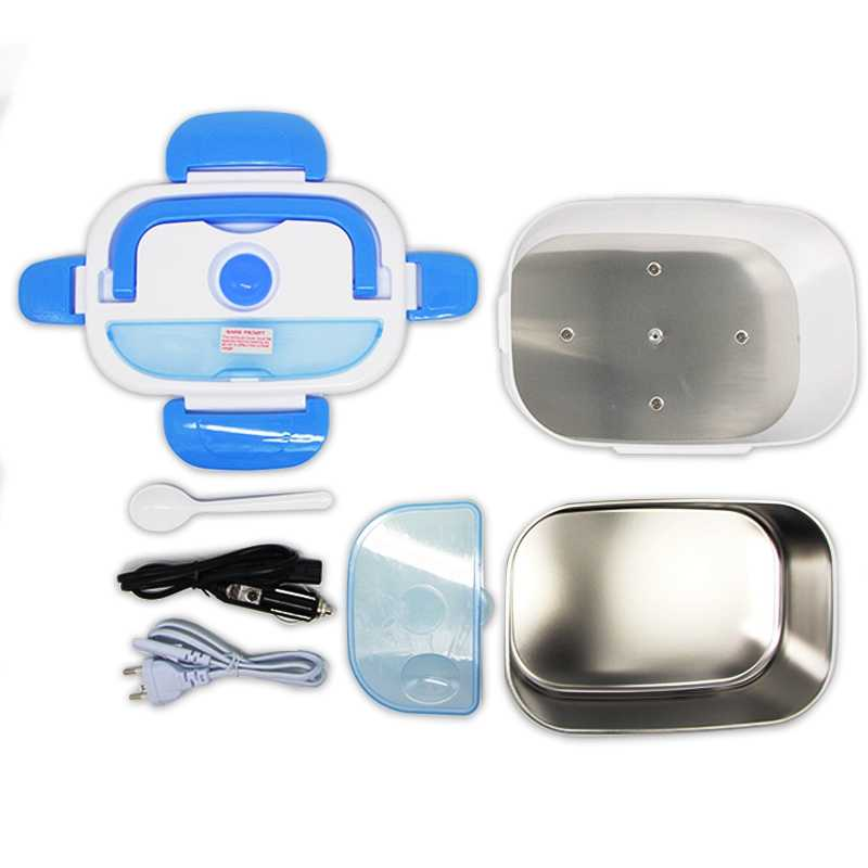 Car Charging Electric Lunch Box - Stainless steel bowl and EU plug