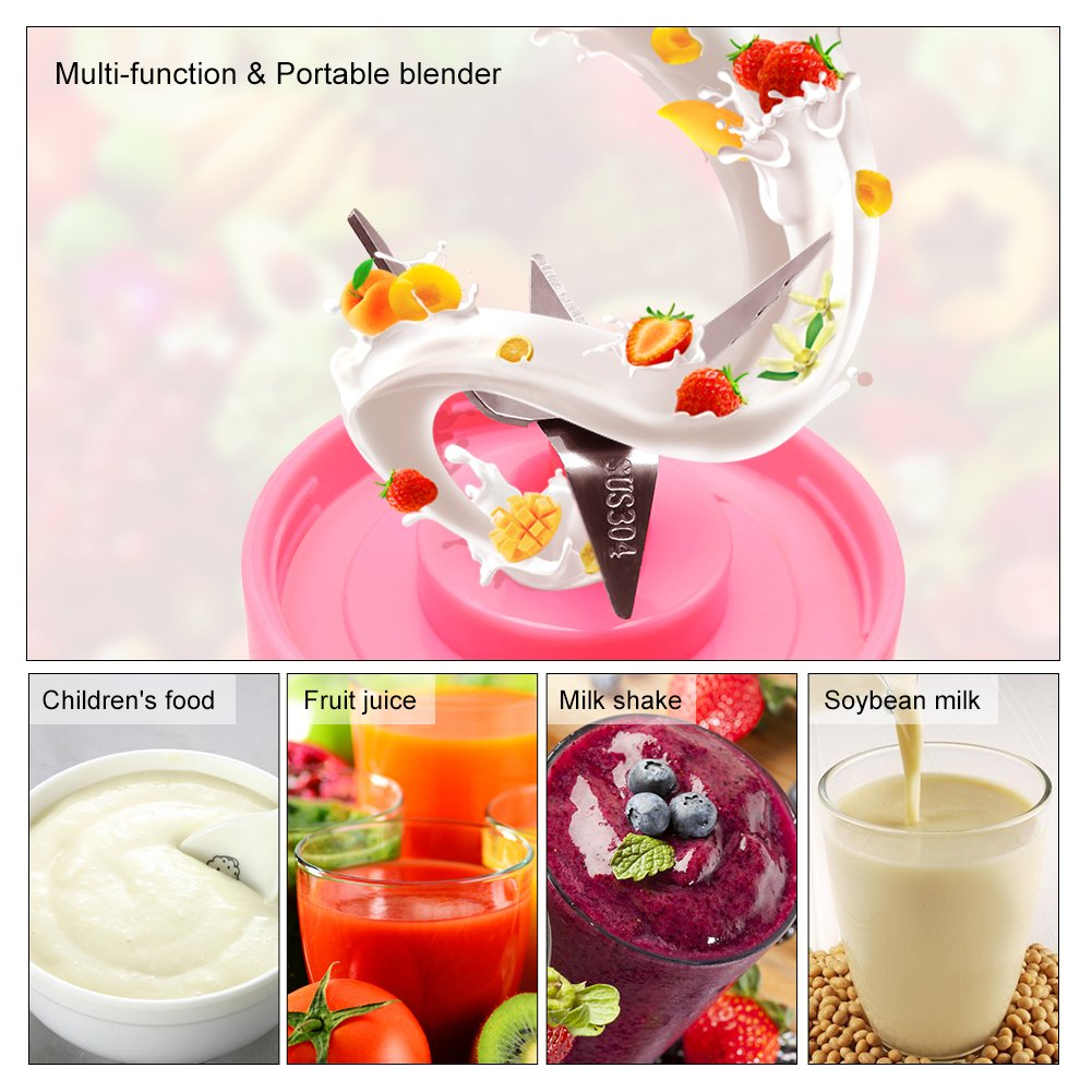 Portable 4 blades Electric Juicer and Smoothie Maker - 380ml