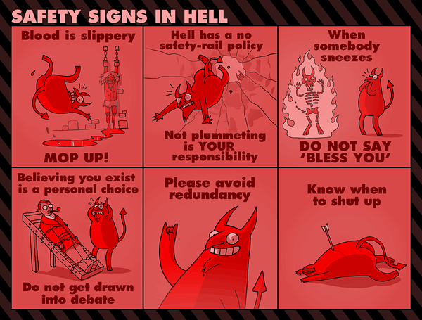 Safety Signs in Hell Print