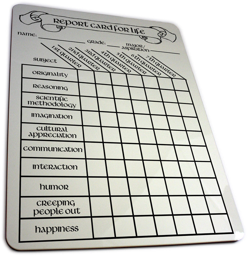 Report Card For Life Dry Erase Board Ndash Topatoco
