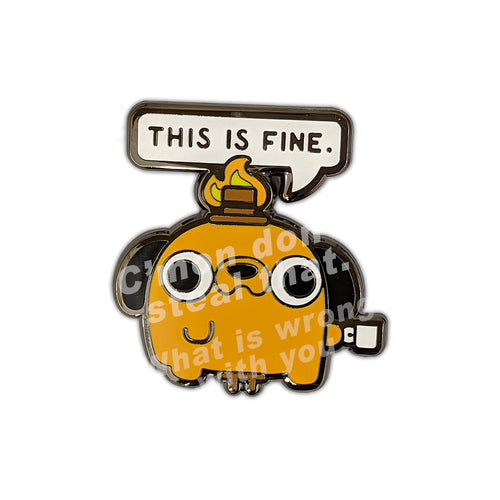 This is Fine Question Hound TealTeacup Pin