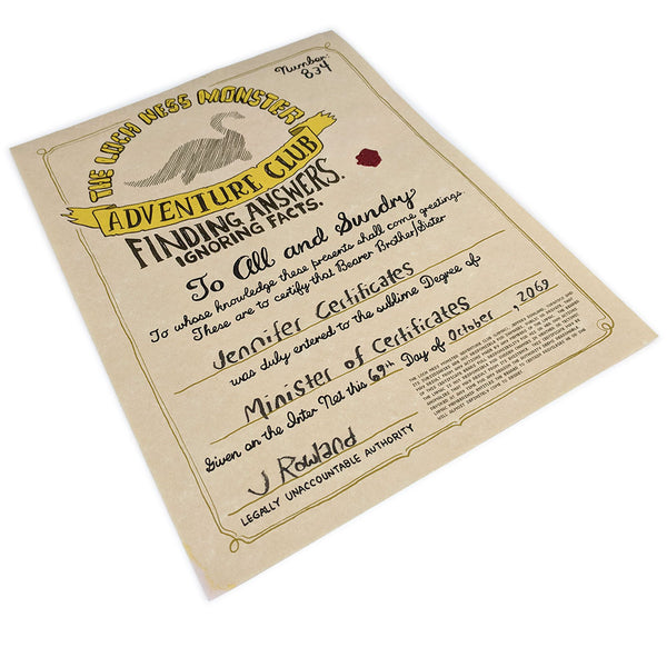 The Loch Ness Monster Adventure Club Certificate