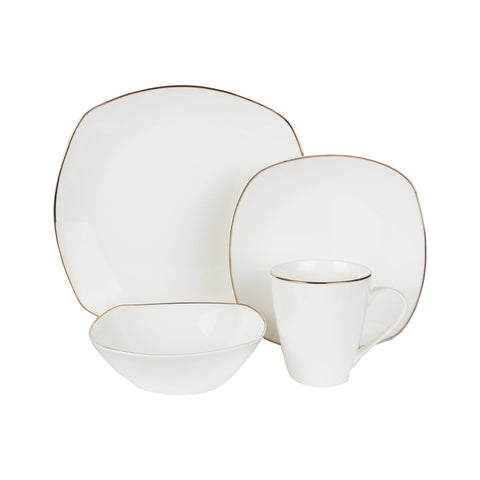 Alyssa Gold-Rimmed Square Bone China White Dinnerware Tableware Dining Set with Service for 4  sc 1 st  Jaf Gifts & Alyssa Gold-Rimmed Square Bone China White Dinnerware Tableware ...