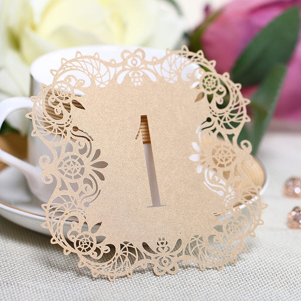 cutout lace table numbers for wedding reception