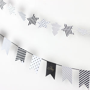 holiday paper garland black and white