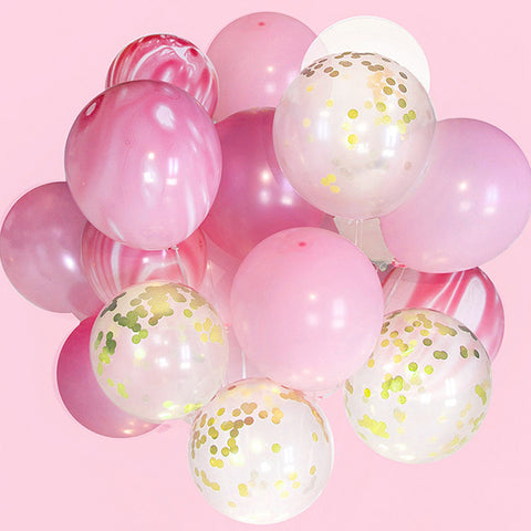 marbled and confetti balloon set