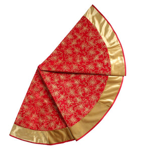 velvet red and gold tree skirt