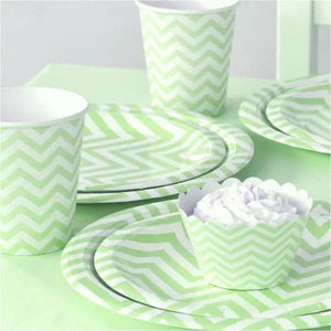 green chevron paper plate set