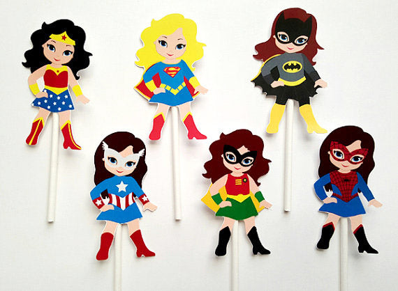 girl superhero cupcake picks