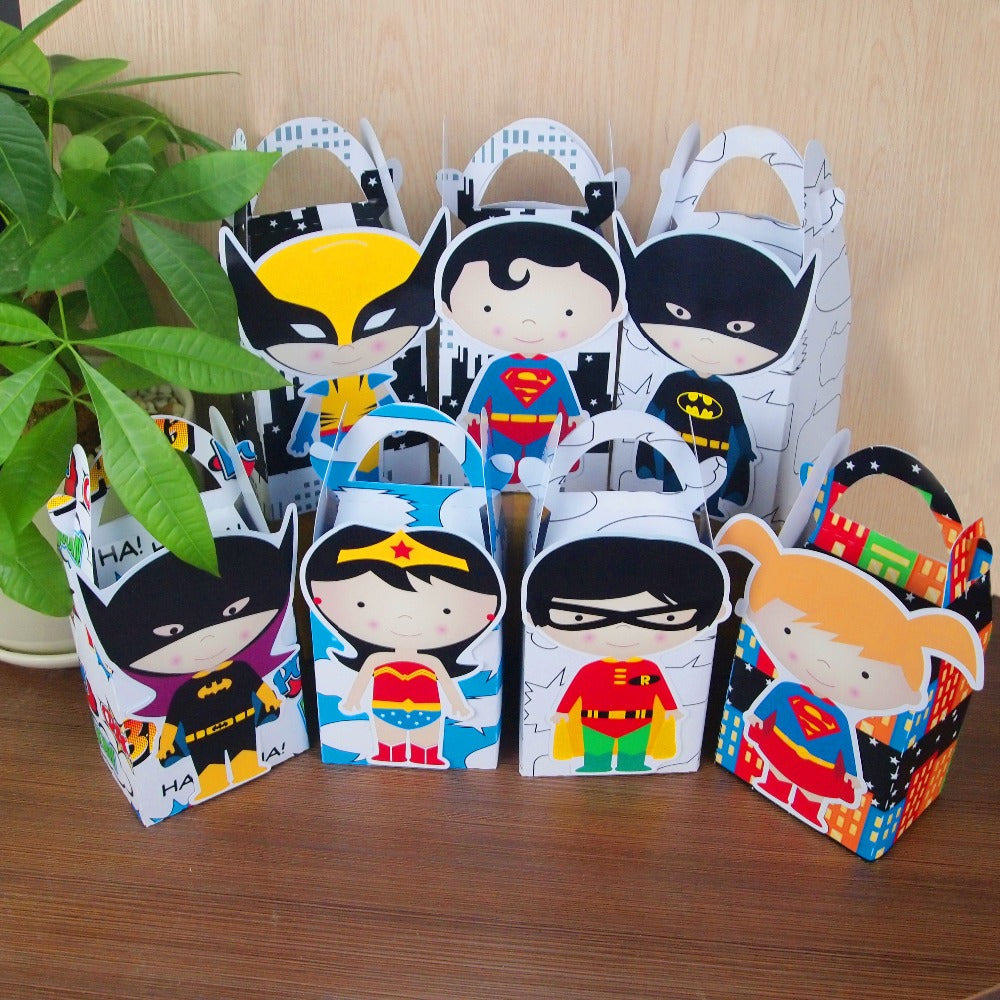 assorted superhero favor boxes