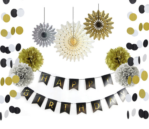 black and gold paper decor