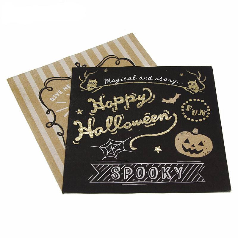 gold and black halloween napkins