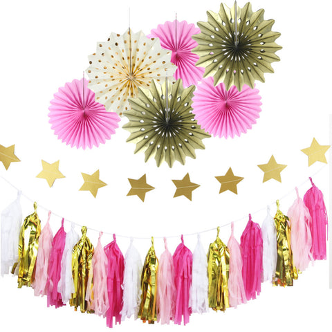 pink and gold hanging decor set