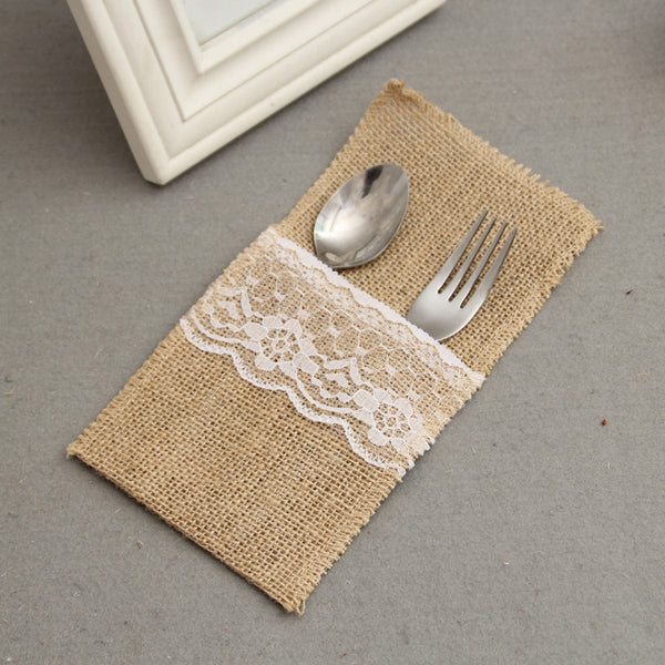 burlap and lace cutlery holder