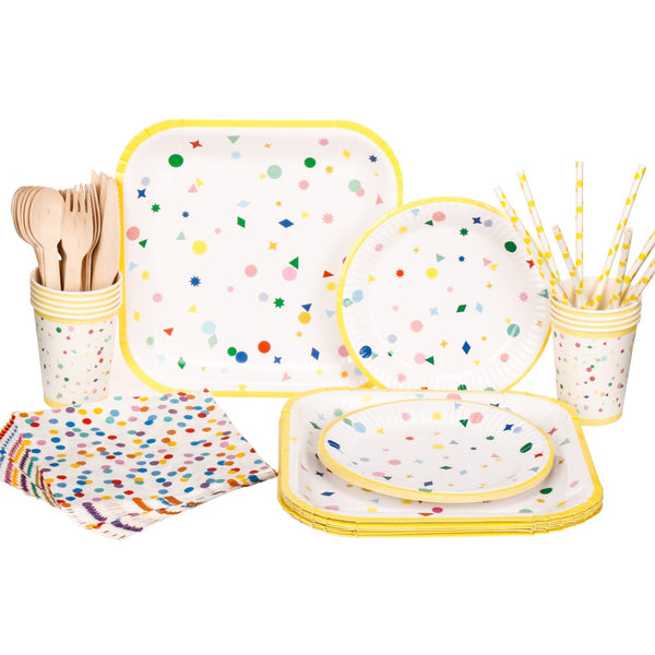 yellow confetti tableware set