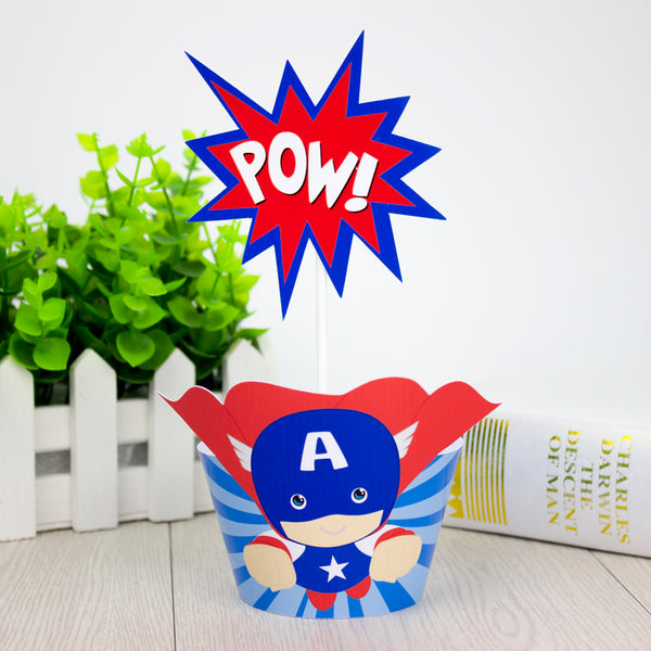 superhero cupcake wrappers and picks