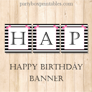 Pink bow birthday banner