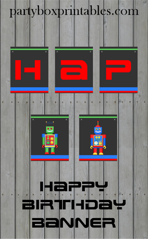 robot birthday party hanging banner