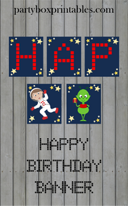 outer space birthday party banner