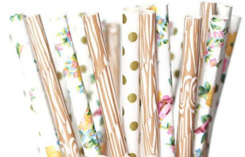 woodland themed party straws