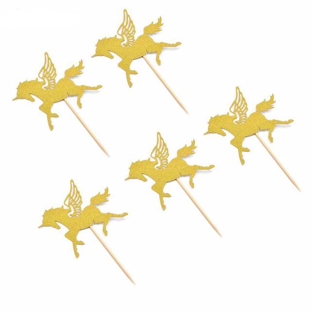 gold glitter unicorn cupcake picks