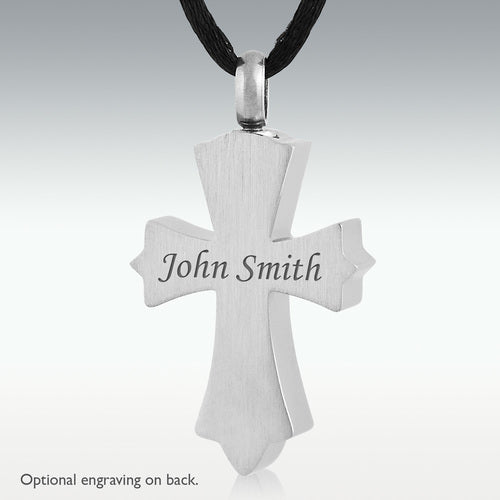 Snowy Cross Stainless Steel Cremation Jewelry - Engravable - HeroinSupport.org