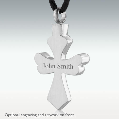 Silver Phoenix Cross Stainless Steel Cremation Jewelry - HeroinSupport.org
