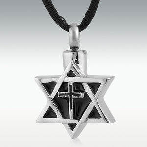 Star & Cross Stainless Steel Cremation Jewelry - Engravable - HeroinSupport.org