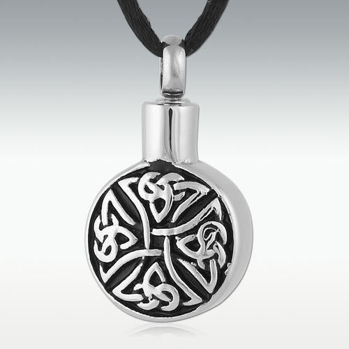 Round Trinity Cross Stainless Steel Cremation Jewelry-Engravable - HeroinSupport.org