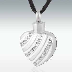Sparkle Wave Heart Stainless Steel Cremation Jewelry - HeroinSupport.org