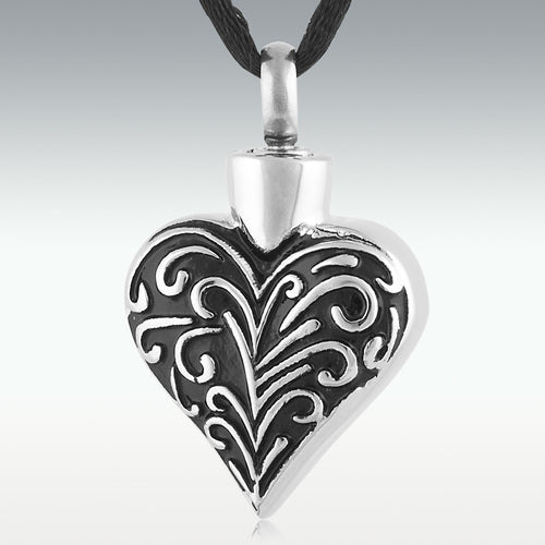 Celebration Heart Stainless Steel Cremation Jewelry - Engravable - HeroinSupport.org