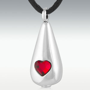 Loving Tear Ruby Stainless Steel Cremation Jewelry - HeroinSupport.org