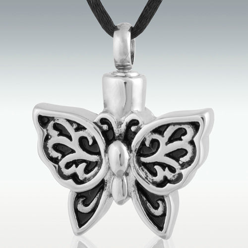 Alluring Butterfly Stainless Steel Cremation Jewelry-Engravable - HeroinSupport.org