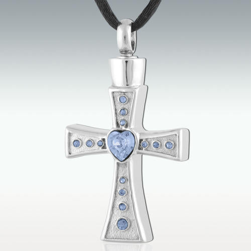 Topaz Heart Cross Stainless Steel Cremation Jewelry - HeroinSupport.org