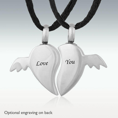 Broken Heart Wings Stainless Steel Cremation Jewelry-Engravable - HeroinSupport.org