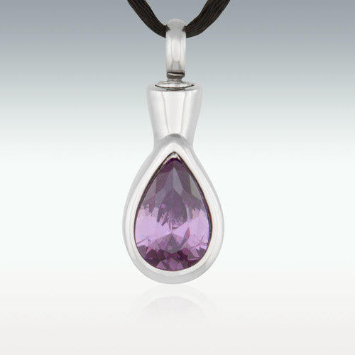 Classic Tear Purple Stainless Steel Cremation Jewelry-Engravable - HeroinSupport.org