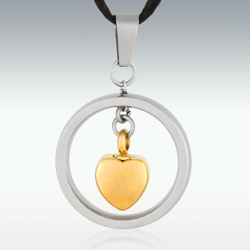 Gold Hanging Heart Stainless Steel Cremation Jewelry-Engravable - HeroinSupport.org