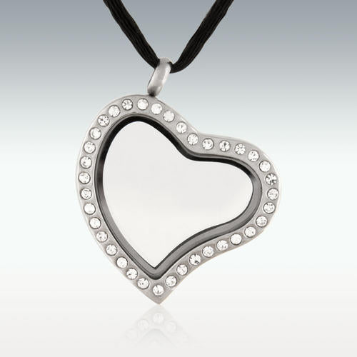 Clear Locket Heart Stainless Steel Cremation Jewelry-Engravable - HeroinSupport.org