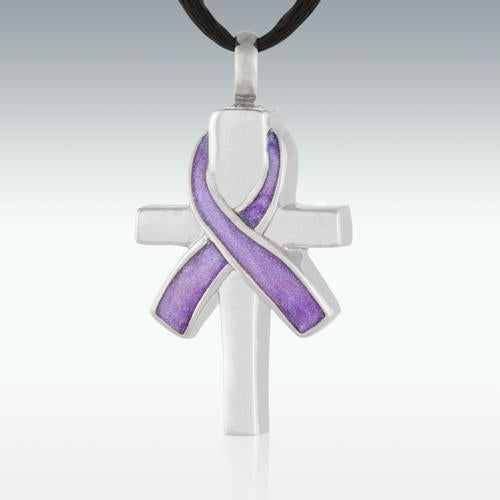 Cross and Lavender Ribbon S.Steel Cremation Jewelry-Engravable - HeroinSupport.org