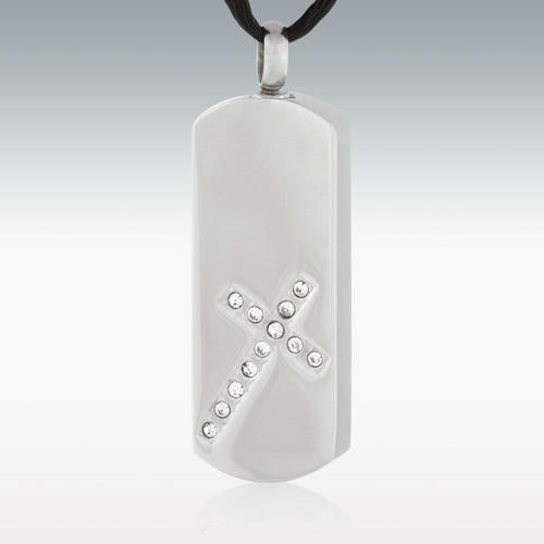 Cross Monolith Stainless Steel Cremation Jewelry - Engravable - HeroinSupport.org