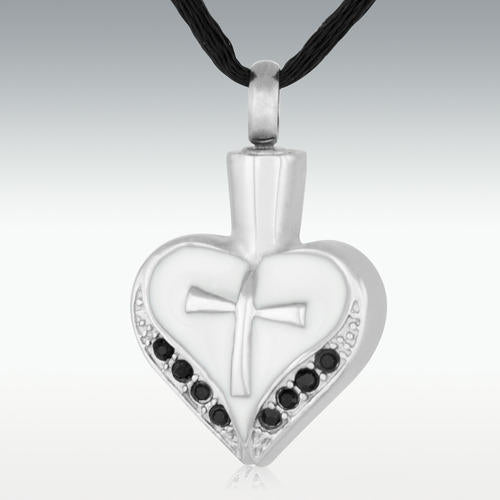 Death Stone Cross My Heart Stainless Steel Cremation Jewelry - HeroinSupport.org