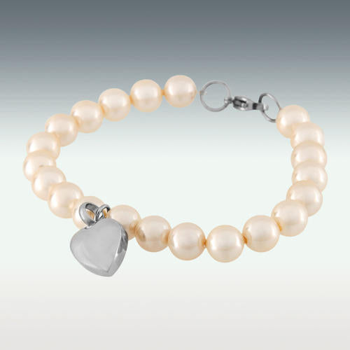 "Heart Charm Pearl Bracelet Cremation Jewelry - 8"" Long - HeroinSupport.org"