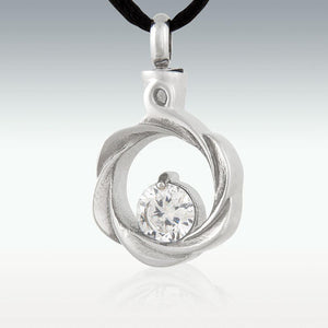White Gem Wreath Stainless Steel Cremation Jewelry - Engravable - HeroinSupport.org