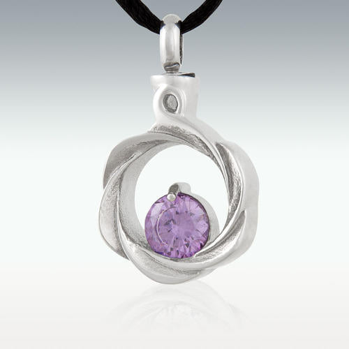 Purple Gem Wreath Stainless Steel Cremation Jewelry - Engravable - HeroinSupport.org