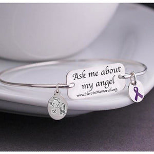 "316L Stainless Steel Bracelet - ""Ask Me About My Angel"" - HeroinSupport.org"