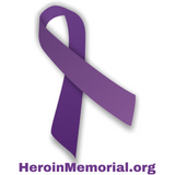 Window Decal - Purple Heroin Awareness Ribbon - HeroinSupport.org